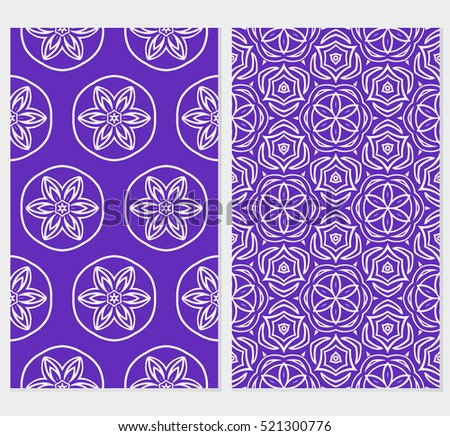 Floral ornament. Set of seamless pattern. Vector illustration. For fashion design, wallpaper, invitation. purple, blue Color