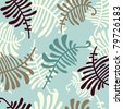 Floral ornament with leaves of fern. Seamless pattern, color blue. - stock photo