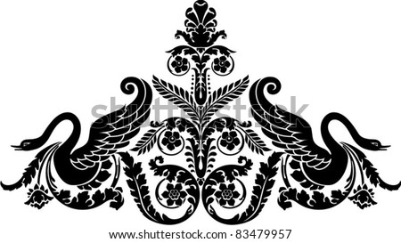 floral ornamental composition with swan, clip art optimized for  cutting on plotter. Stencil for decor - stock vector