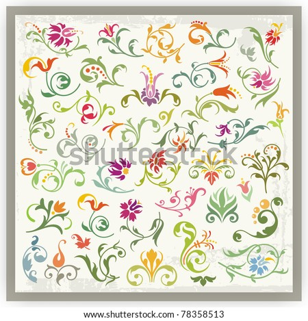 Floral Ornamental Designs Set - stock vector
