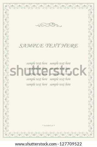 Floral ornamental frame. Vintage style - stock vector