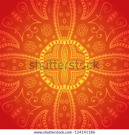Floral ornaments in hand drawn style. Abstract background. - stock vector