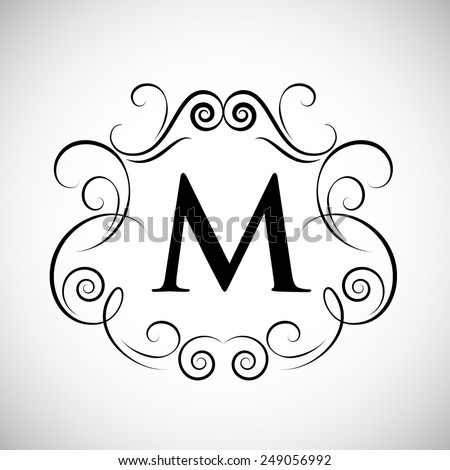 Floral Outline Frame - Isolated On Gray Background - Vector Illustration, Graphic Design, Editable For Your Design - stock vector