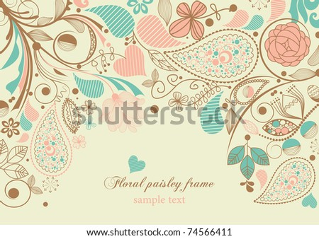 Floral paisley frame - stock vector
