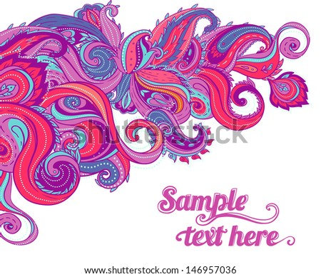 Floral paisley vector colorful ornate frame