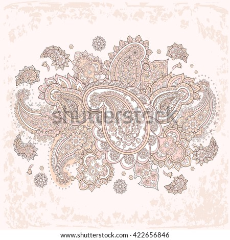 Floral paisley vector ornament.