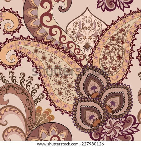 floral paisley with light orange border decorated brown and burgundy pattern  on pale lilac background - stock vector