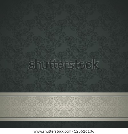 Floral pattern background with ornamental strip. Retro design - stock vector