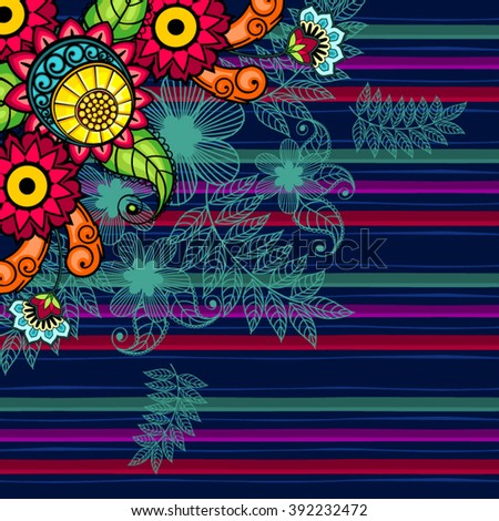 Floral Pattern bright colors and stripes-Many LevelTtransparency blending effects and gradient mesh-EPS 10. - stock vector