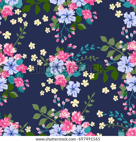 Floral Pattern In Country Style Bouquet Rustic Chic Flower Background For Textile Wallpaper