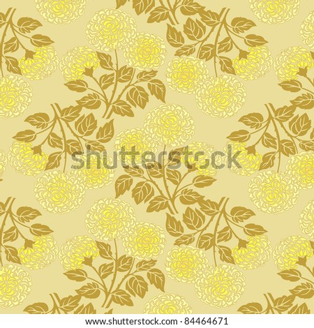 floral pattern in gold and yellow colors - stock vector