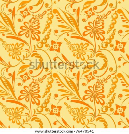 floral pattern in shades of ocher light - stock vector