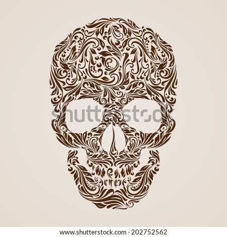Floral pattern in the shape of a skull on a beige background. Day of the Dead - stock vector