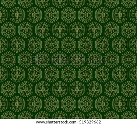 floral pattern of geometric elements. seamless pattern. green color. vector illustration.