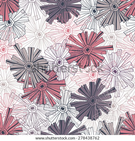 Floral pattern of the contoured flowers. - stock vector