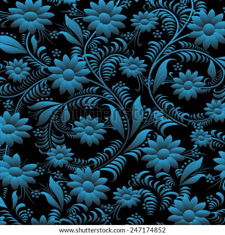 Floral pattern on black background. Vector EPS10 - stock vector