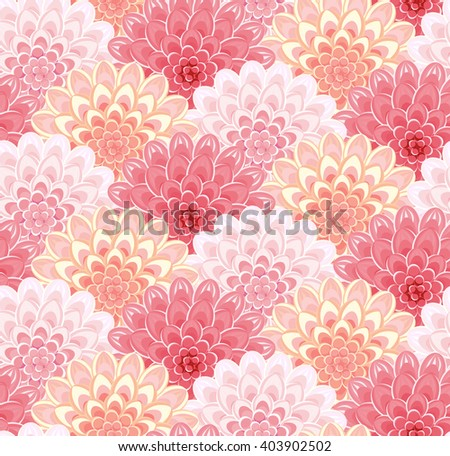 Floral pattern. Seamless vintage background. Flower vector illustration. Pink abstract backdrop. Dahlia or Chrysanthemum Flowers. - stock vector