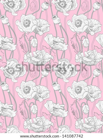 Floral pattern seamless vintage. Pink poppies - stock vector
