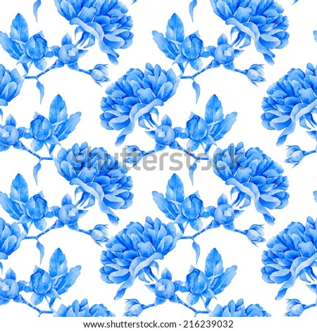 Floral pattern. Vector seamless background. Blue roses - stock vector
