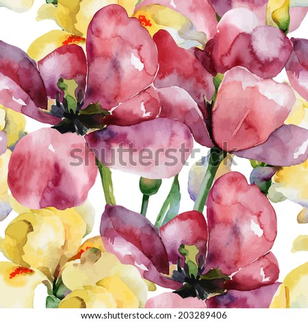 Floral pattern. Vector seamless background. Purple tulips  and yellow irises - stock vector