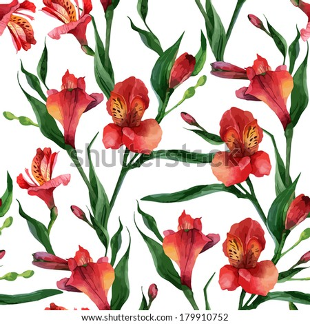 Floral pattern. Vector seamless background. Red alstroemeria - stock vector