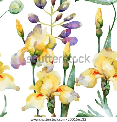 Floral pattern. Vector seamless background. Yellow irises and lupines - stock vector