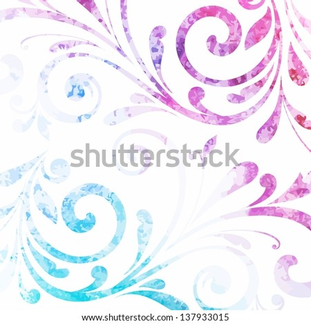 Floral pattern. Vector watercolor background.