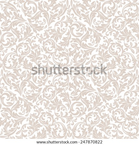 Floral pattern. Wallpaper baroque, damask. Seamless vector background.