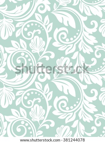 Floral Pattern Wallpaper Baroque Damask Seamless Vector Background Blue And White Ornament