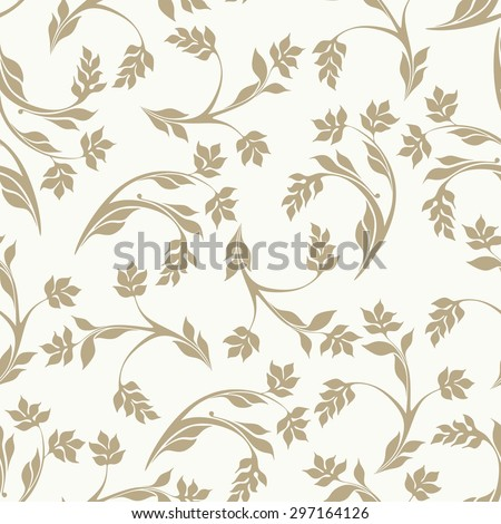 Floral pattern. Wallpaper baroque, damask. The gold leaves. Seamless vector beige background. - stock vector