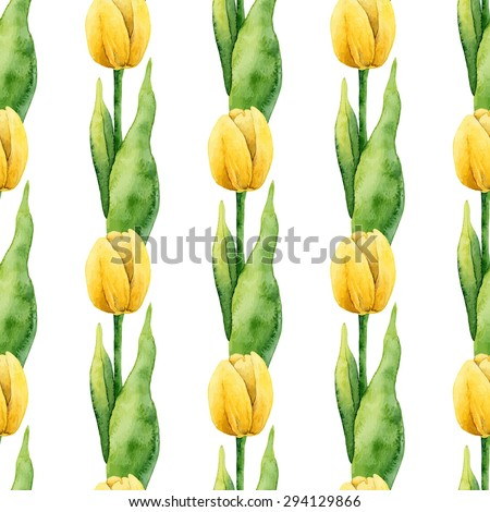 Floral pattern. Watercolor seamless background. Yellow tulips. Vector illustration  - stock vector
