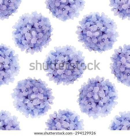 Floral pattern. Watercolor vector seamless background. Violet hydrangea - stock vector