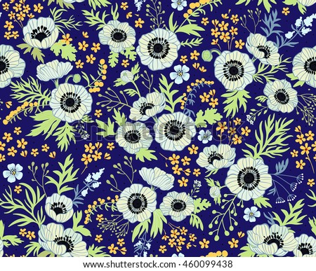 floral pattern anemones beautiful white flowers stock
