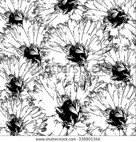 Floral pattern with big flowers. Vector. - stock vector