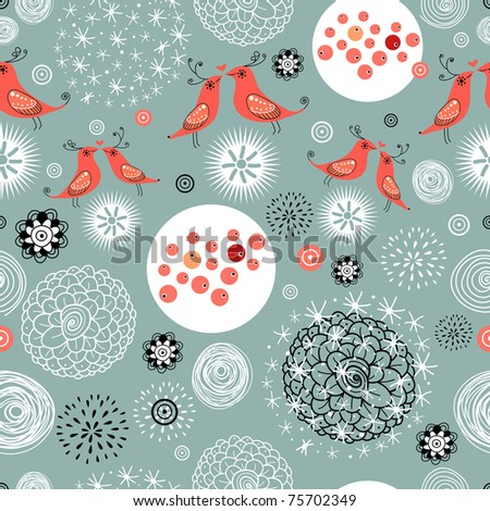 floral pattern with birds in love - stock vector