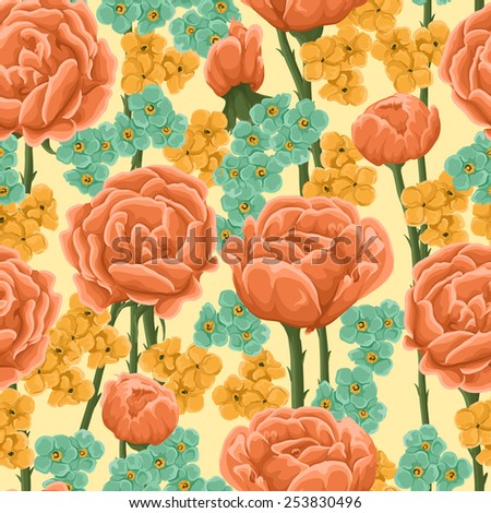 Floral pattern with bright orange roses and small yellow and blue flowers. - stock vector