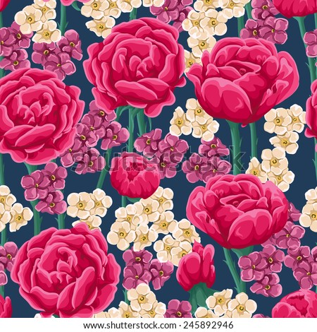 Floral pattern with bright pink roses and small white and magenta flowers. - stock vector