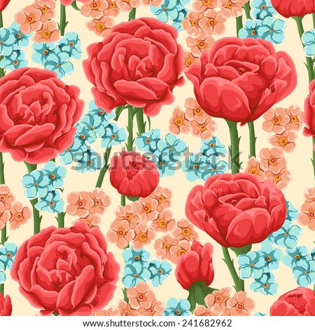 Floral pattern with bright res roses and small pink and blue flowers. - stock vector