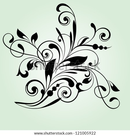 Floral pattern with decorative branch in vintage style - stock vector