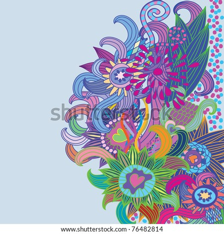 floral pattern with flower and heart - stock vector
