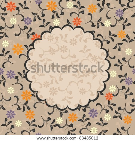 floral pattern with frame - stock vector