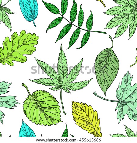 Floral pattern with leaves.Summer green pattern textile,Vector illustration.