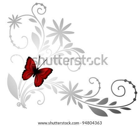 Floral pattern with red butterfly - stock vector