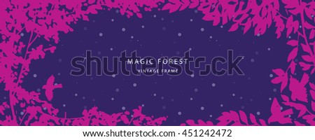 Floral pink/dark purple greeting card background with trees, plants, birds. Nature frame. Trendy design template for wedding,congratulations, events, invitations for all holidays. Vector illustration.