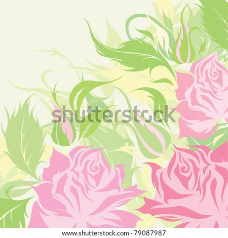 Floral postcard with color roses silhouette - stock vector