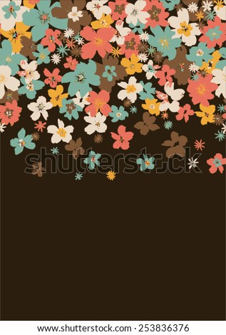 Floral print on dark background - stock vector