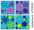 floral retro vector flower design background - stock photo