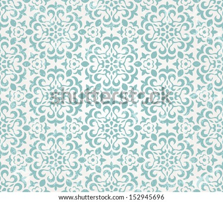 Floral retro wallpaper with grunge effect. Seamless background. EPS 10 vector illustration. - stock vector
