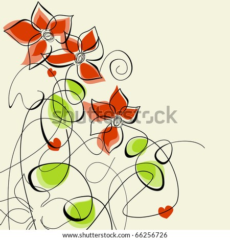 Floral romantic greeting card - stock vector