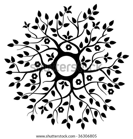Floral Round Background - stock vector